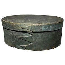 Exceptional 1800's Shaker 4-Finger Green Shaker Box All Original Paint Fantastic