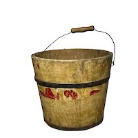 """Antique Primitive 6"""" Small Early Yellow Paint Wood Staved Bucket Pail w/ Paper"""