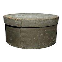 "Early 1800's Primitive Round Light Gray Pantry Box 8"" Diameter Fantastic Patina"