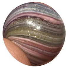 "Antique 5/8"" German Amazing Multi Color Blue Pink Onion Skin Lutz Marble Beauty"