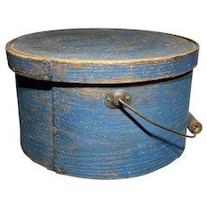 "Early 1800's Antique Exceptional Blue Pantry Box 11"" Original Paint w/ Handle"