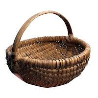 """Exceptional Early Antique Primitive Split Oak Miniature Brown Basket 7"""" Diameter"""