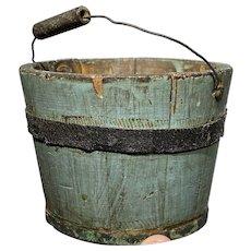 "Early Primitive 3 1/2"" Small Blue Bucket Pail Original Paint Signed E. Murdock"