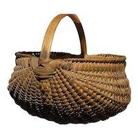 "Exceptional Fine Early Antique Primitive Split Oak Miniature Basket 4"" Diameter"