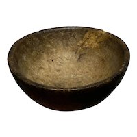"""Early Antique 1800s Primitive 7"""" Small Burl Bowl Eating Bowl Early Thick Dark NM"""