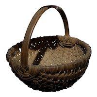 "Early Antique Primitive Split Oak Miniature Dark Brown Basket 7"" Diameter Nice"