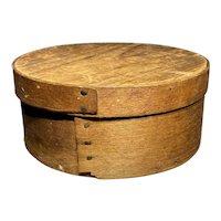 "Early 1800's Primitive Round Light Brown Pantry Box 7"" Diameter Fantastic Patina"