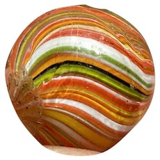 "Antique JOSEPH'S COAT Marble GERMAN Handmade .70 VINTAGE 5/8"" Onion Skin Marble"