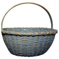 """Early Antique Primitive Basket 10"""" Diameter Original Blue Paint Fantastic Rare"""