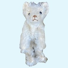 """Early Antique Miniature Steiff 1909 Jointed 3 1/2""""White Bear Early Rare Example"""