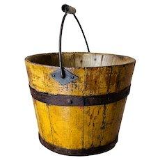 "Early Miniature 4 1/2"" Original Yellow Mustard Shaker Bucket Pail Original Paint"
