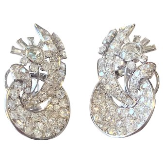 Art Deco Era Diamond Earrings 10.00 cttw