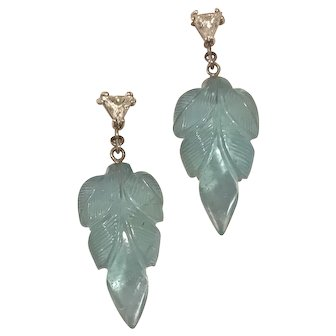 Carved Aquamarine and Diamond Earrings