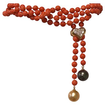 Flawless CORAL Diamond SOUTH SEA PEARL Long Necklace 61 inches 400cttw