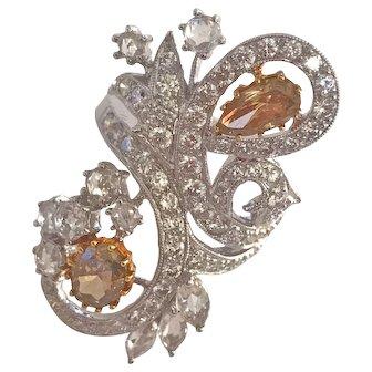 18k White Gold Fancy Cognac and Rose Cut White Diamond Ring