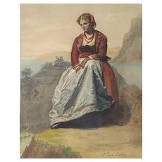 Antique Watercolor Painting, Original Italian Woman Portrait, 19th Century Watercolor, Juan A. Vera Calvo (1825-1905)
