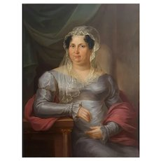 Antique Portrait Painting, Large Oil on Canvas Portrait of a Lady, Signed and Dated Portrait , Anton Bayer (1768-1833)