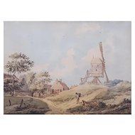 18th Century Watercolor Painting, Animated Dutch Landscape, Signed with a Monogram