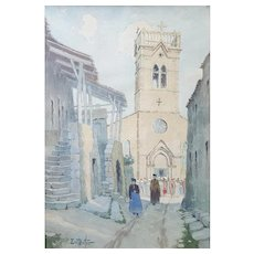 Vintage Watercolor Landscape, French Village Watercolor Painting, Signed Painting French Artist Ernest Berthier (1873-1967)