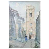 Ernest Berthier (1873-1967), Vintage French Village Watercolor Painting, Signed