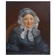 French Oil Portrait, Original 19th Century French Painting Portrait of a Woman, Louis Philippe Style, Circa 1840