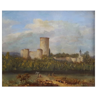 Antique Painting Landscape,  19th Century French Castle Painting, Original Oil Landscape Painting Signed and Dated, 1864
