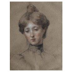 Antoinette Raoux (1872-1928), Antique 19th C Drawing Portrait of a Woman