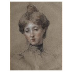 Antoinette Raoux (1872-1928), 19th Century Drawing Portrait of a Woman, French Woman Artist