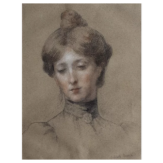Antique French Drawing Portrait of a Woman, 19th Century Drawing, French Woman Artist, Antoinette Raoux (1872-1928)