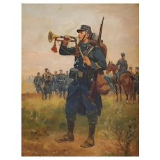 Paul Perboyre (1851-1929),  Small Oil Painting Military Scene, Signed and dated 1915