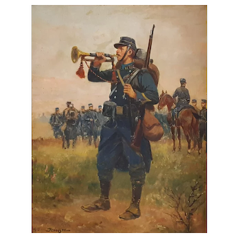 Antique Oil Portrait, French Soldier Painting, Antique Oil on Panel Painting, French Artist Paul Perboyre (1851-1929)