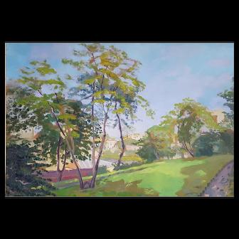 Vintage Painting Landscape, 1927 Oil on Wood Panel Painting, French Artist Painter Robert Paul Mahélin (1889-1968)