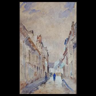 Antique Watercolor Landscape, 19th Century French Watercolor Painting, Jacques Alfred Brielman (1830-1892)