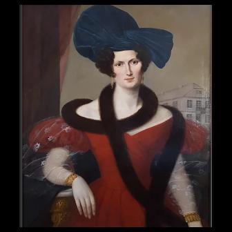 Portrait of a Young Woman, German Painting Portrait, Antique Oil on Canvas, Large 19th Century Portrait Painting