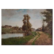 19th Century Oil Painting, French Village Landscape, Signed and Dated 1892