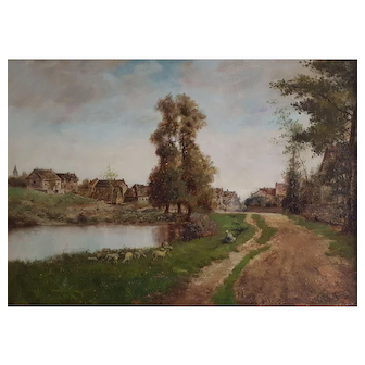 Antique Oil Painting, French Village Landscape, Signed and Dated Landscape Painting, 1892