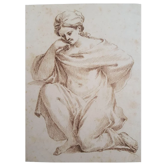 Antique Woman Portrait, Original Drawing, 17th Century Italian Antiques, Brown Ink Drawing