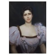Georges Roussin (1854-1941), Large Woman Pastel Portrait, Signed and dated 1896