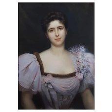 Georges Roussin (1854-1941), Portrait of a Woman, Large Antique Pastel Painting, 1896