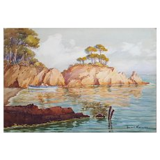 Circa 1930 Watercolor Painting, French Coastal Landscape, Unframed