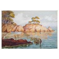 Original Watercolor Painting, French Coastal Landscape, Circa 1930, Unframed