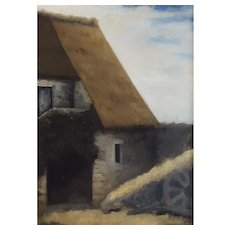 French Oil Painting, Old Farm Landscape, Circa 1890