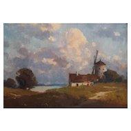 Endre Komaromi-Kacz (1880-1969), Oil Windmill Landscape, Signed, Circa 1905