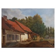 19th Century Oil Painting, French Farmyard Landscape, Circa 1870, Unsigned