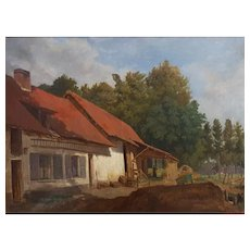 19th Century French Antique Landscape Painting, Circa 1870