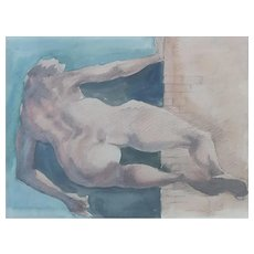 Roger Coppe (1928-2012), Modern Nude Watercolor Painting, Expressionist Belgian School, Signed and Dated 1991