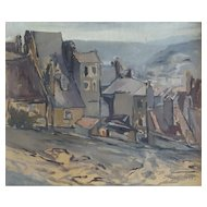Jean-Baptiste Fourt (1924-1998), Vintage Oil Village Painting , Dated and signed 1948