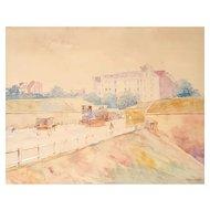 Francis Garat (1853-1914), French Watercolor Painting, View of Paris Circa 1900