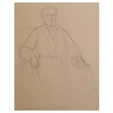 Louis Roux (1817-1903), Small Antique Drawing Portrait, Circa 1860