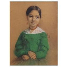 Ernest Drouet (1819-1890), Small Pastel Painting, French Woman Portrait, Signed and dated 1842